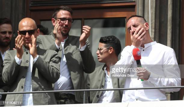 Franck Ribery of FC Bayern Muenchen reacts celebrateing the Bundesliga title and the German Cup title for the season 2018/19 on the balcony of the...