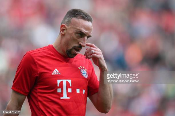 Franck Ribery of FC Bayern Muenchen reacts during the friendly match between 1. FC Kaiserslautern and FC Bayern Muenchen at Fritz-Walter-Stadion on...