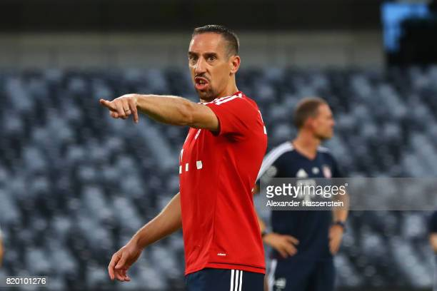 Franck Ribery of FC Bayern Muenchen recats during a training session at Shenzhen Universiade Sports Centre during the Audi Summer Tour 2017 on July...