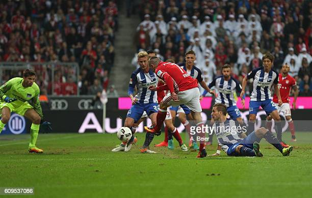 Franck Ribery of FC Bayern Muenchen scores his first goal during the Bundesliga match between Bayern Muenchen and Hertha BSC at Allianz Arena on...