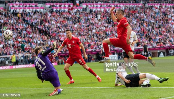 Franck Ribery of FC Bayern Muenchen scores his team's third during the Bundesliga match between FC Bayern Muenchen and Eintracht Frankfurt at Allianz...