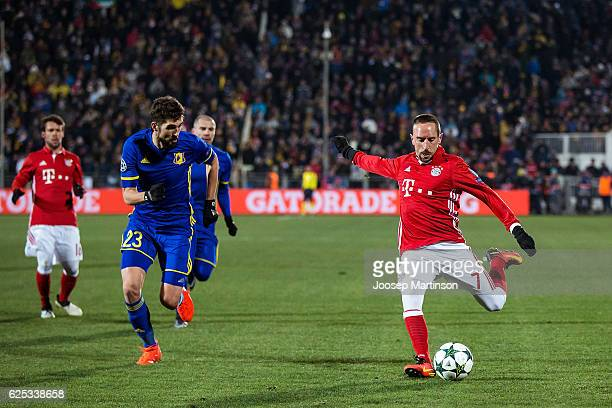 Franck Ribery of FC Bayern Muenchen shoots on goal during the UEFA Champions League match between FC Rostov and Bayern Muenchen at Olimp-2 on...