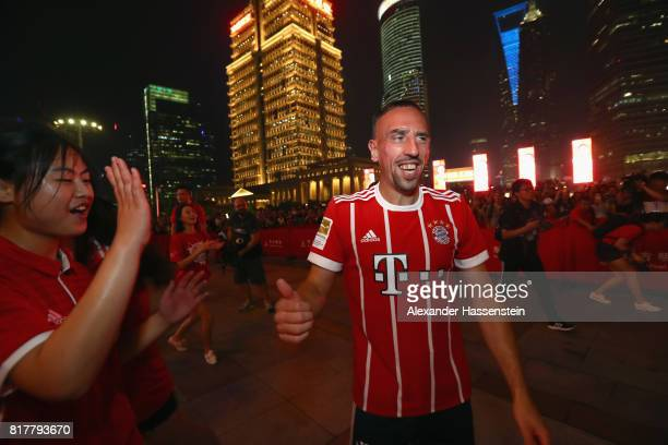 Franck Ribery of FC Bayern Muenchen visit with his team mates the Shanghai Oriental Pearl Tower during the Audi Summer Tour 2017 on July 18 2017 in...
