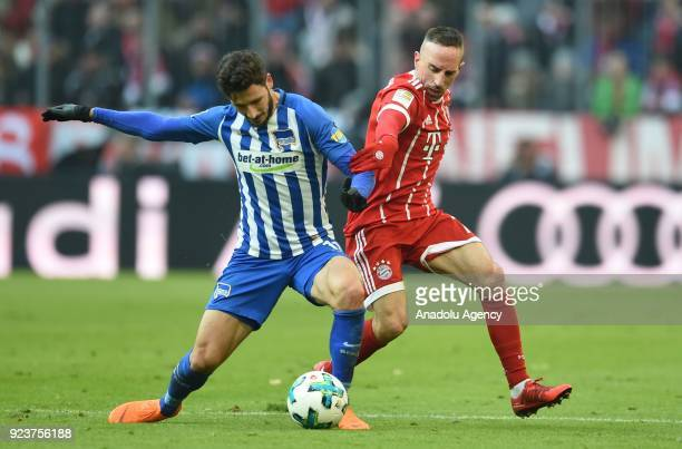 Franck Ribery of FC Bayern Munich in action against Matthew Leckie of Hertha BSC Berlin during the German Bundesliga soccer match between FC Bayern...