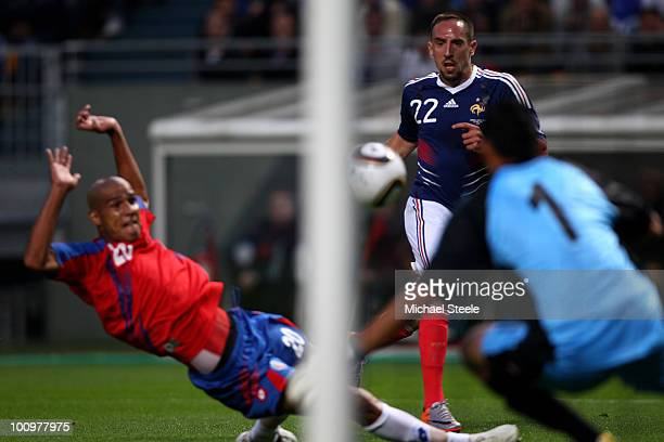Franck Ribery of France scores the equalising goal during the France v Costa Rica International Friendly match at Stade Felix Bollaert on May 26,...