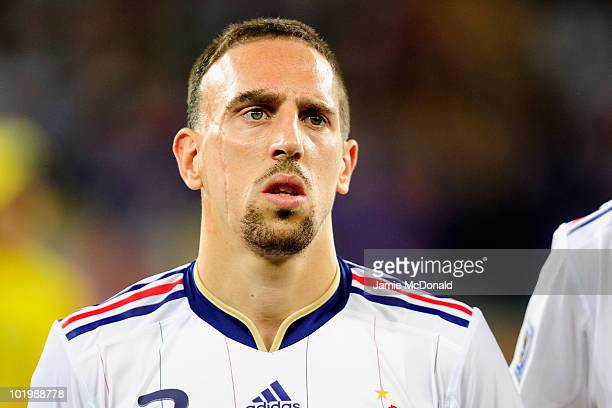 Franck Ribery of France stands in the line up ahead of the 2010 FIFA World Cup South Africa Group A match between Uruguay and France at Green Point...