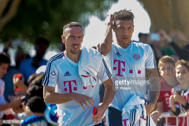 Franck Ribery of Muenchen and Corentin Tolisso of Muenchen look on during the FC Bayern Muenchen training camp at Aspire Academy on January 06 2018...