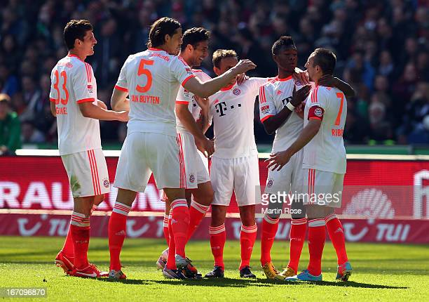 Franck Ribery of Muenchen celebrate with his team mates after he scores his team's 2nd goal during the Bundesliga match between Hannover 96 and FC...