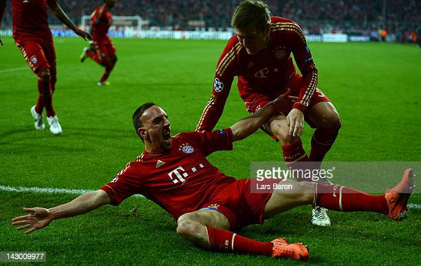 Franck Ribery of Muenchen celebrates after scoring his teams first goal during the UEFA Champoins League Semi Final first leg match between FC Bayern...