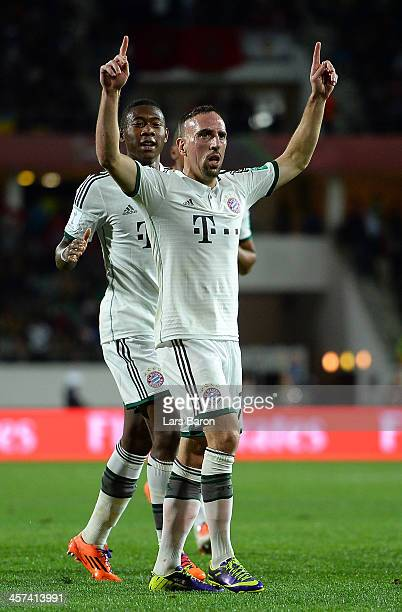 Franck Ribery of Muenchen celebrates after scoring his teams first goal during the FIFA Cub World Cup semifinal match between Guangzhou Evergrande...