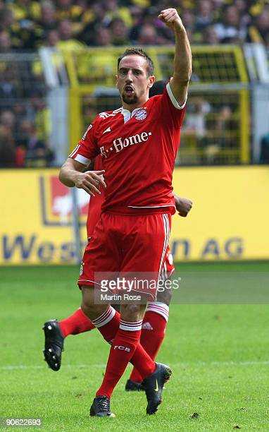 Franck Ribery of Muenchen celebrates after scoring his team's third goal the Bundesliga match between Borussia Dortmund and FC Bayern Muenchen at the...