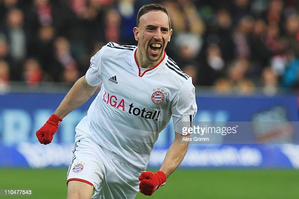 Franck Ribery of Muenchen celebrates his team's second goal during the Bundesliga match between SC Freiburg and Bayern Muenchen at Badenova Stadium...