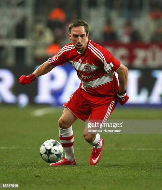 Franck Ribery of Muenchen holds the ball during the Bundesliga match between FC Bayern Muenchen and Energie Cottbus at the Allianz Arena on November...
