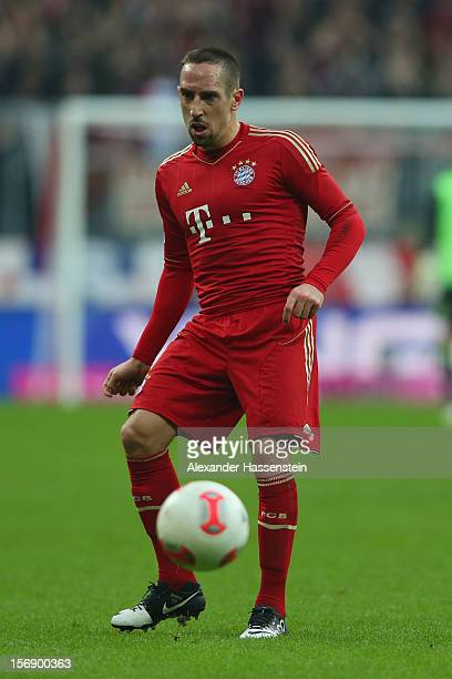 Franck Ribery of Muenchen holds the ball with during the Bundesliga match between FC Bayern Muenchen and Hannover 96 at Allianz Arena on November 24...