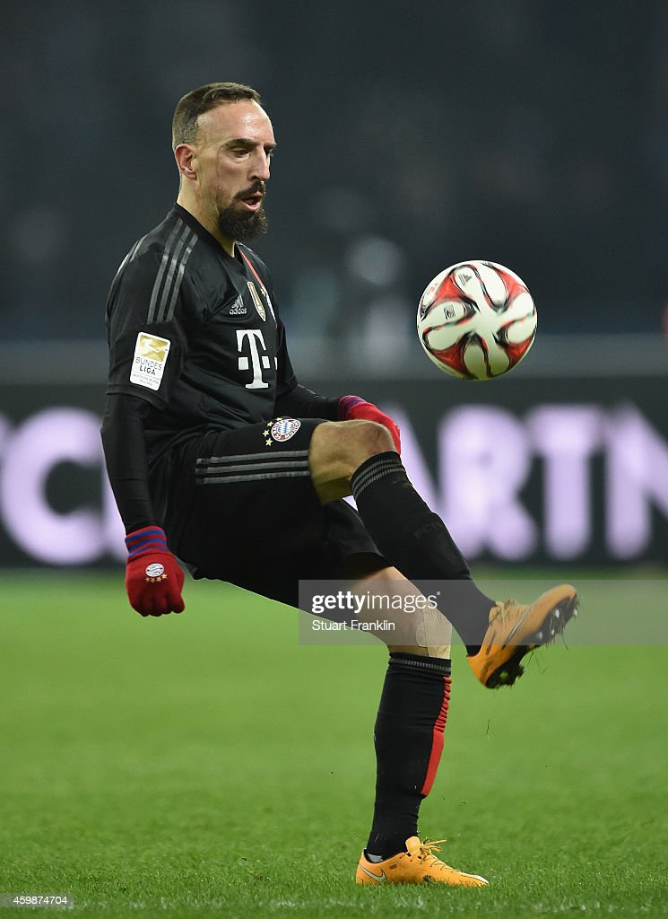 Franck Ribery of Muenchen in action during the Bundesliga match between Hertha BSC and FC Bayern Muenchen at Olympiastadion on November 29, 2014 in Berlin, Germany.