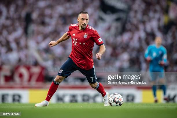 Franck Ribery of Muenchen in action during the Bundesliga match between VfB Stuttgart and FC Bayern Muenchen at MercedesBenz Arena on September 1...