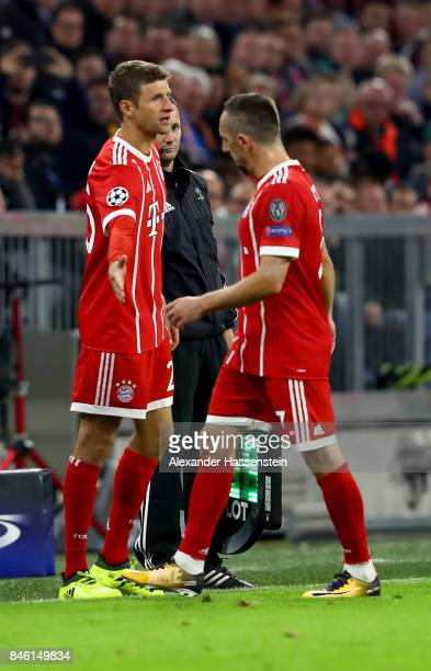 Franck Ribery of Muenchen is replaced by Thomas Mueller during the UEFA Champions League group B match between Bayern Muenchen and RSC Anderlecht at...