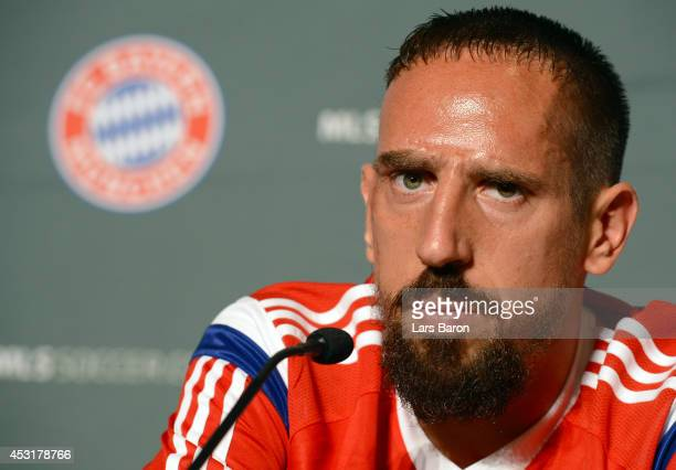 Franck Ribery of Muenchen looks on during a press conference prior to the friendly match between the MLS Allstars and FC Bayern Muenchen at day six...