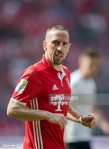 Franck Ribery of Muenchen reacts during the Bundesliga match between FC Bayern Muenchen and Hannover 96 at Allianz Arena on May 14 2016 in Munich...