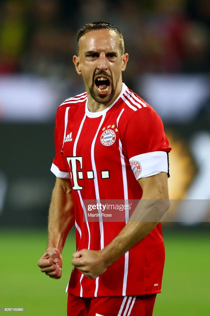 Franck Ribery of Muenchen reacts during the DFL Supercup 2017 match between Borussia Dortmund and Bayern Muenchen at Signal Iduna Park on August 5, 2017 in Dortmund, Germany.