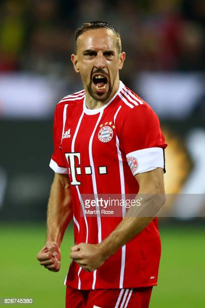 Franck Ribery of Muenchen reacts during the DFL Supercup 2017 match between Borussia Dortmund and Bayern Muenchen at Signal Iduna Park on August 5,...