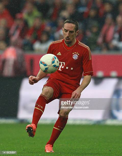 Franck Ribery of Muenchen runs with the ball during the Bundesliga match between FC Bayern Muenchen and Hannover 96 at Allianz Arena on March 24 2012...