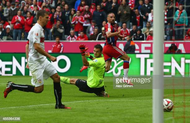 Franck Ribery of Muenchen scores his team's second goal against goalkeeper Sven Ulreich of Stuttgart during the Bundesliga match between FC Bayern...
