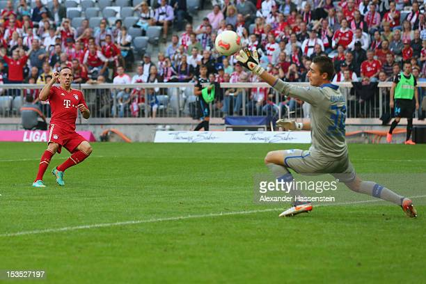 Franck Ribery of Muenchen scores the second team goal against keeper Koen Casteels of Hoffenheim during the Bundesliga match between FC Bayern...