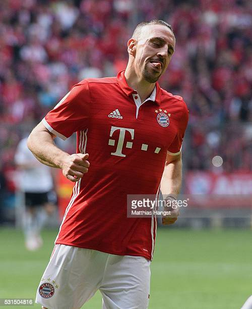 Franck Ribery of Muenchen seen during the Bundesliga match between FC Bayern Muenchen and Hannover 96 at Allianz Arena on May 14 2016 in Munich...