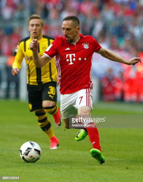 Franck Ribery of Munich and Felix Passlack of Dortmund fight for the ball during the German Bundesliga soccer match between Bayern Munich and...