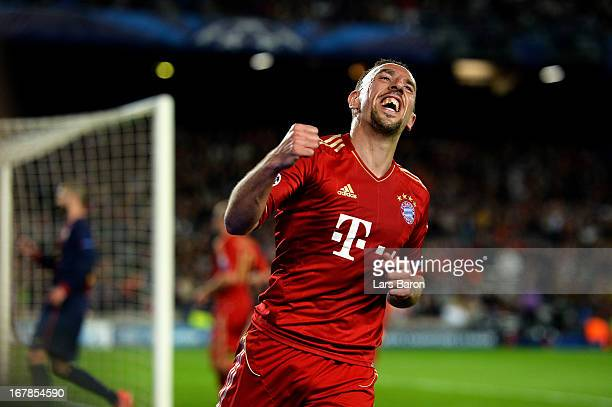 Franck Ribery of Munich celebrates after Gerard Pique of Barcelona scores an own goal to make the score 20 during the UEFA Champions League semi...