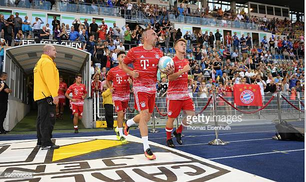 Franck Ribery of Munich enters the pitch prior the DFB Cup match between FC Carl Zeiss Jena and Bayern Muenchen at ErnstAbbeSportfeld on August 19...