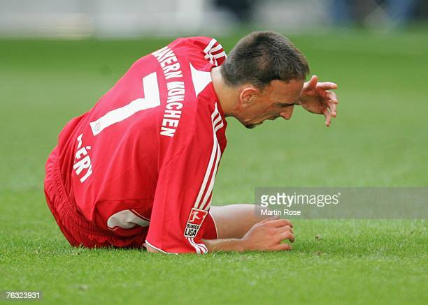 Franck Ribery of Munich reacts during the Bundesliga match between FC Bayern Munich and Hanover 96 at the Allianz Arena on August 25 2007 in Munich...