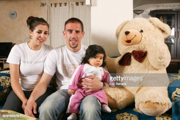 Franck Ribery of Olympique de Marseille and his wife Wahiba and his daughter Hiziya during a photoshoot on March 17 2006 in Marseille France