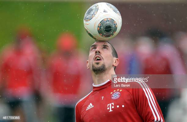 Franck Ribery plays with the ball during a training session at day 7 of the Bayern Muenchen training camp at ASPIRE Academy for Sports Excellence on...