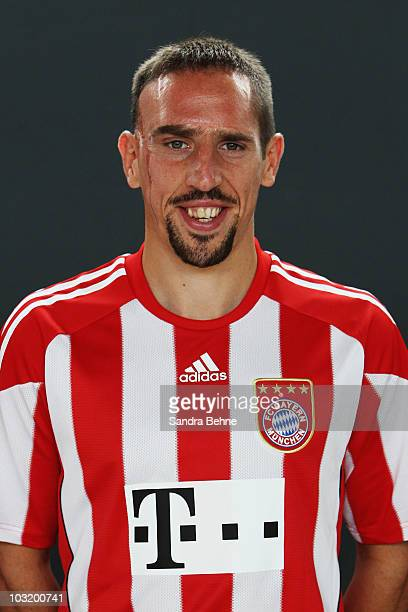 Franck Ribery poses during the FC Bayern Muenchen team presentation at Bayern's training ground Saebener Strasse on August 2 2010 in Munich Germany