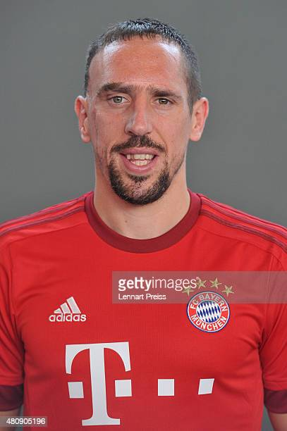 Franck Ribery poses during the team presentation of FC Bayern Muenchen at Bayern's training ground Saebener Strasse on July 16 2015 in Munich Germany