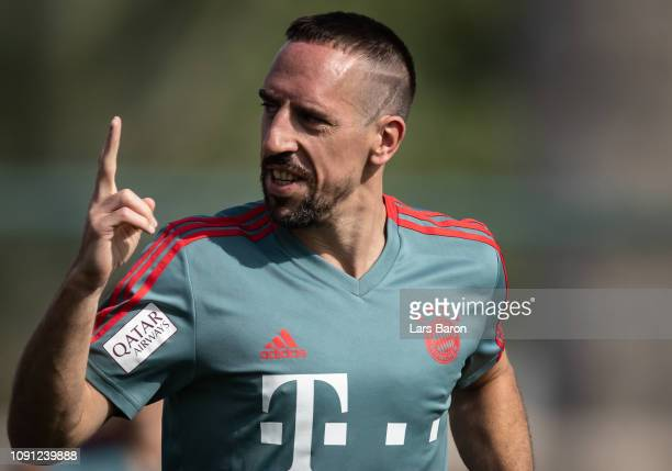 Franck Ribery smiles to the fans during a training session at day four of the Bayern Muenchen training camp at Aspire Academy on January 07 2019 in...