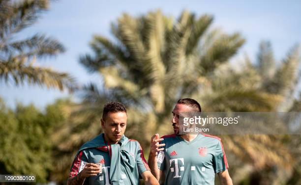 Franck Ribery speaks with Rafinha prior to a training session at day three of the Bayern Muenchen training camp at Aspire Academy on January 05 2019...