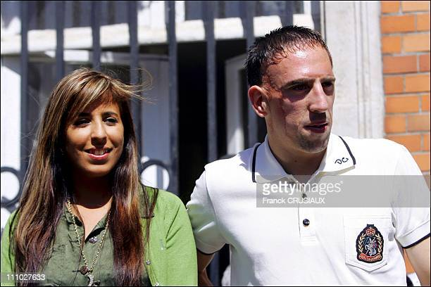 Franck Ribery the French international football player and his wife Wahida in his celebration in BoulognesurMer France on July 14th 2006