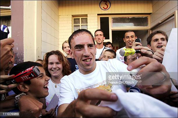 Franck Ribery The French international football player returning to his native district of Green Path in Boulogne sur Mer after the World Cup signing...