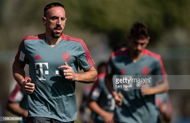 Franck Ribery warms up during a training session at day three of the Bayern Muenchen training camp at Aspire Academy on January 05 2019 in Doha Qatar