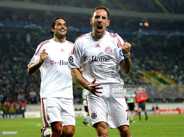 Franck Ribéry of Bayern celebrates his second goal with Luca Toni during the UEFA Champions League, Round of Last 16, First Leg match between...