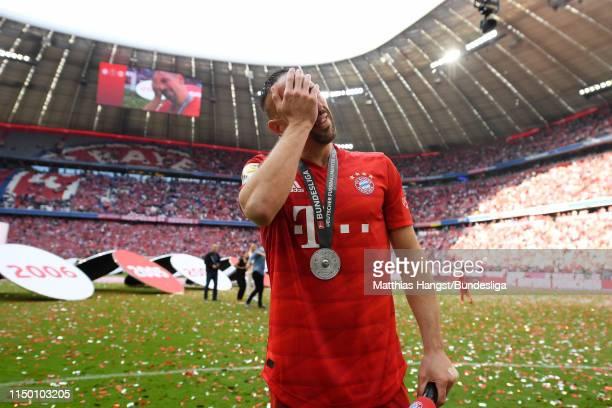 Franck Ribéry of FC Bayern München reacts after the Bundesliga match between FC Bayern München and Eintracht Frankfurt at Allianz Arena on May 18...