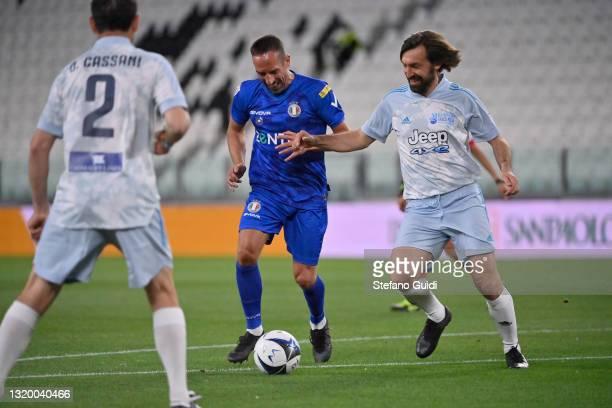Franck Ribéry of Nazionale Italiana Cantanti against Andrea Pirlo of Campioni Per La Ricerca during the 30th 'Partita Del Cuore' charity friendly...