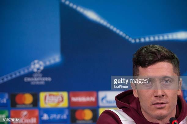 Franck Robert Lewandowski of FC Bayern Munich attends a press conference prior to the UEFA Champions League Group D football match between FC Bayern...