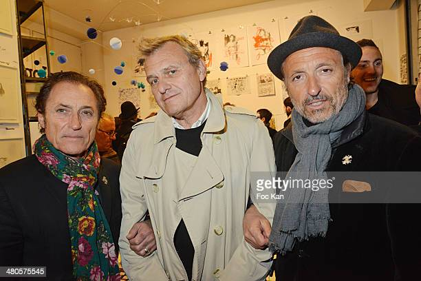 Franck Ros from Paco Chicano Jean Charles de CastelbajacÊand Gilbert Ros from Paco Chicano attend the 'Dessins' Collective Exhibition at Galerie Ofr...