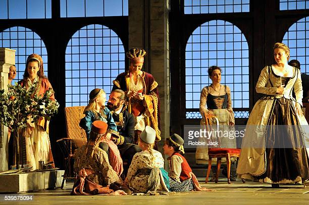 Franck Saurel as Pasha Selim Rebecca Nelsen as Blonde and Ana Maria Labin as Konstanze with artists of the company in Wolfgang Amadeus Mozart's Die...