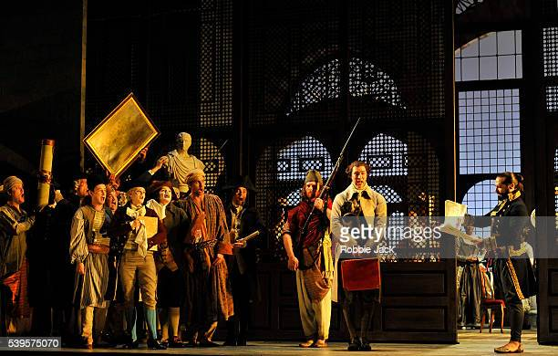 Franck Saurel as Pasha Selim with artists of the company in Wolfgang Amadeus Mozart's Die Entfuhrung aus dem Serail directed by David McVicar and...