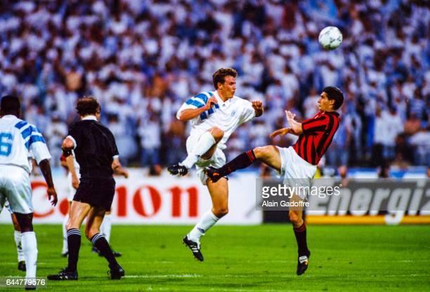 Franck Sauzee / Daniele Massaro Marseille / Milan AC Finale de la Ligue des Champions Munich Photo Alain Gadoffre / Icon Sport